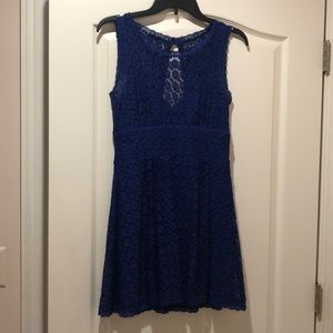 Blue lace mini dress